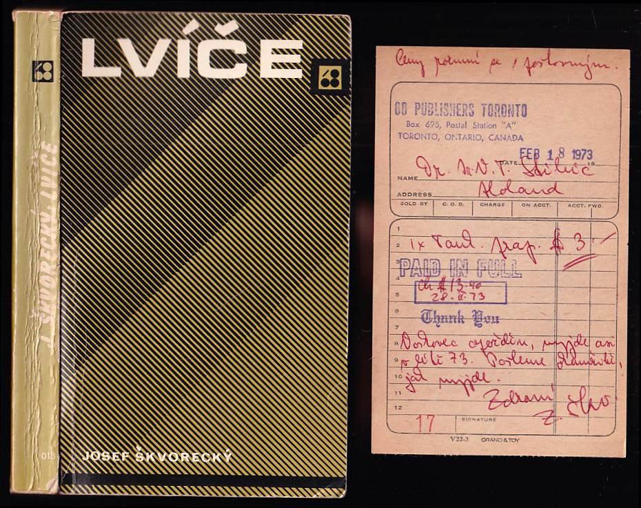 Josef Škvorecký: Lvíče + OBJEDNÁVKA Z 66 PUBLISHERS OD ZDENY ŠKVORECKÉ S PODPISEM