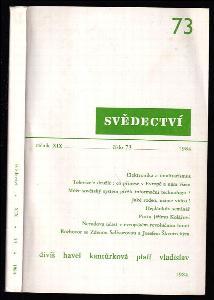 Svědectví - čtvrtletník pro politiku a kulturu, ročník XIX číslo 73