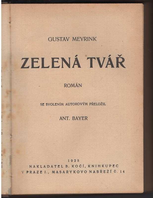Gustav Meyrink: Zelená tvář